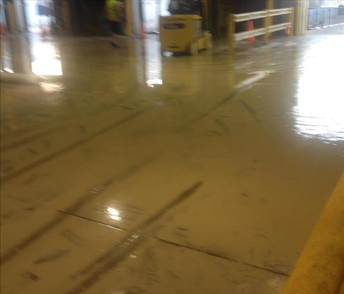 Water on a warehouse floor